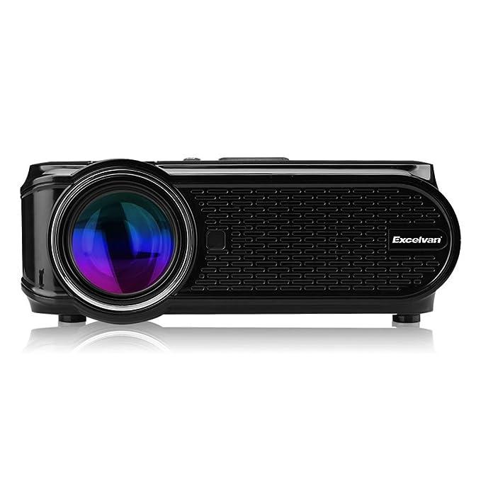 Excelvan EHD02 - Mini Proyector portátil LED Home Cinema (1000 lúmenes, resolución 800*480, HDMI/USB/VGA/AV/ATV/SD), con altavoces incorporados, Negro