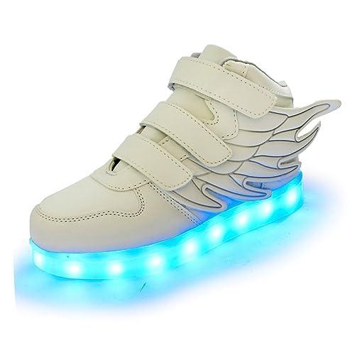 96d9512890963 PADGENE Chaussures Enfants Garçon Fille Basket LED Lumineuse 7 Couleurs  Clignotants USB Rechargeable Securité Mode Haut Dessus Taille  Amazon.fr   Chaussures ...