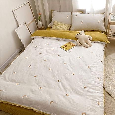 AMY Juego de sábanas, 100% algodón, hipoalergénico, cómoda y Suave Cubierta de Cama Bordado Estrellas de la Luna 4 Juegos para la habitación de los niños Jardín de Infantes: Amazon.es: Deportes y