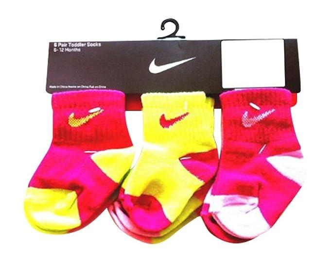 Nike Niño Niña Calcetines Pink/Neon 6 pares, tamaño 12-24 meses