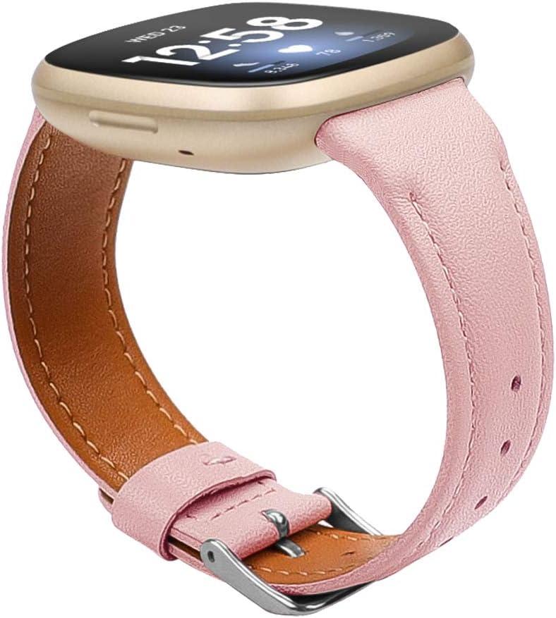 Mallas de cuero genuino para Fitbit Versa 3/ Sense Rosa