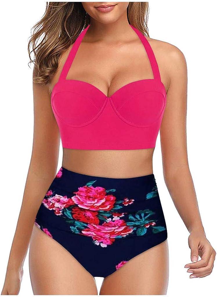 2020 Women Padded Push Up Bikini Set Floral Halter High Waisted Two Piece Beachewear Swimsuit Bathing Suit S-5XL