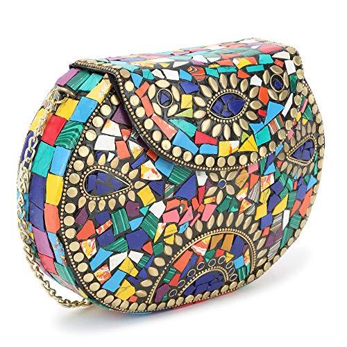Voila Antique Ethnic Handmade Party Metal Clutch for Women - Multicolor
