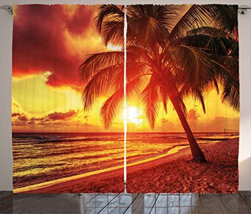 Ambesonne Beach Curtains, Sunset at The Calm Beach with Palms Exotic Caribbean Island Barbados Scenic View, Living Room Bedroom Window Drapes 2 Panel Set, 108 X 84 , Yellow Orange