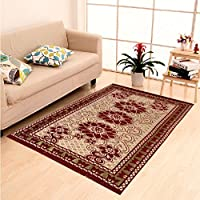 Home Elite Persian Collection Abstract Premium Chenille Carpet Rug - 5 x 7 Feet, Maroon-CRT403