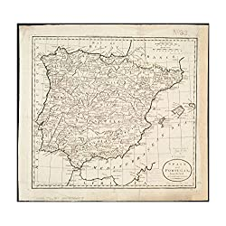 1796 Map Iberian Peninsula | Spain| Portugal Spain and Portugal from the best authorities Relief sho