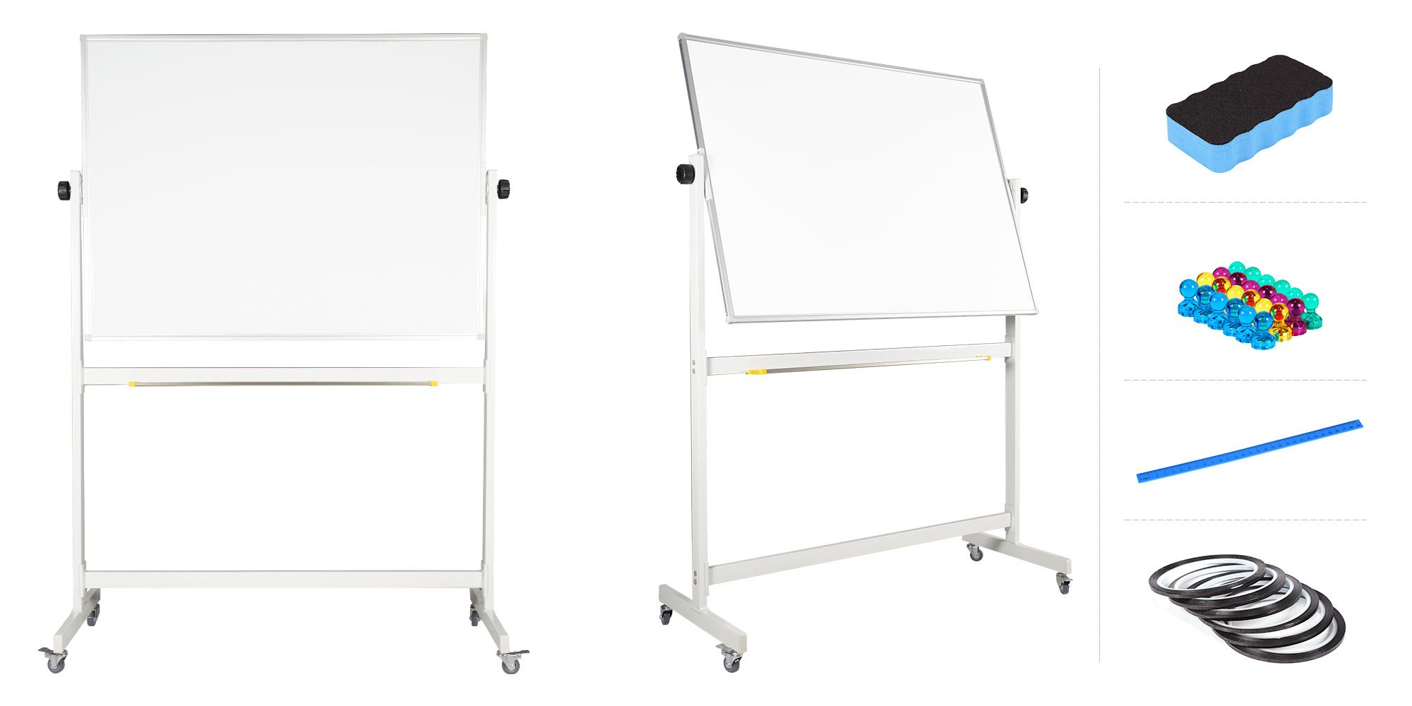 Mobile Whiteboard 36'' x 48'' inch Magnetic Double Sided Flip Over Dry Erase Reversible Portable Home Office Classroom Board with Magnetic Eraser Ruler 24 Push Pin Magnets 6 Gridding tapes