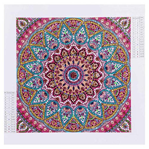 Amaping DIY 5D Diamond Painting by Number Kits Special Shaped Crystal Rhinestone Beads Pasted Embroidery Cross Stitch Kits Embellishment Arts Craft for Home Wall Hanging Decor (Mandala Flower) ()