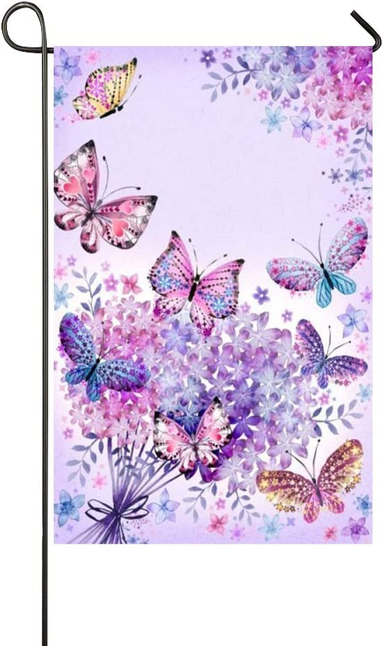 Rossne G sun Beautiful Purple Butterfly Art Welcome Spring Garden Flag House Flag Decoration Double Sided Flag 12.5 x 18 Inch