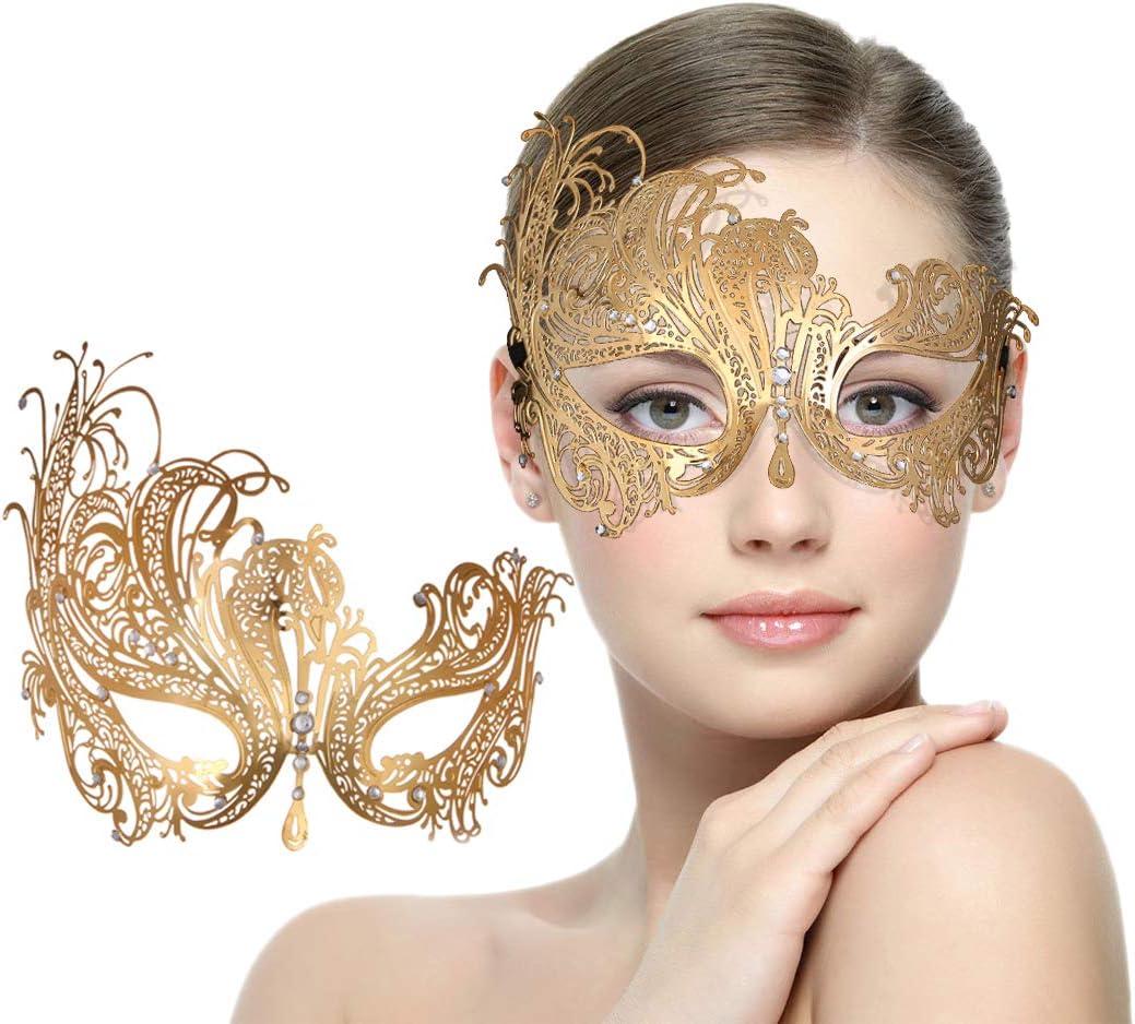 Gold Venetian Laser Cut Metal Crystal Masquerade Ball party Phantom Opear Mask