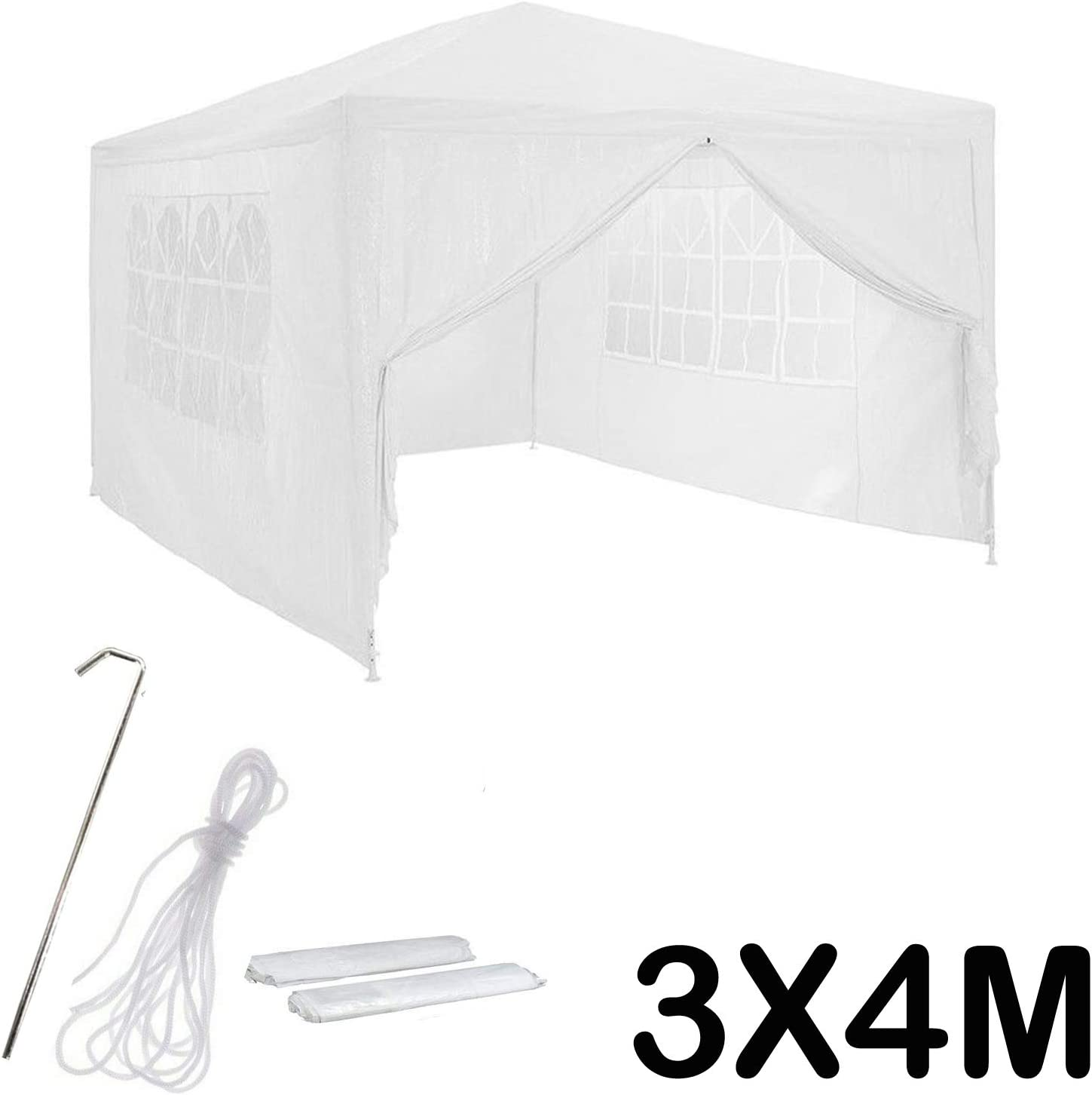 DICN 3x4m Party Tent Gazebo with Side Panels White 120g PE Cover Waterproof Marquee Powder Coated Steel Frame for Events Camping Garden Festival