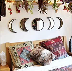 Scandinavian Natural Decor Acrylic Moonphase Mirrors, Moon Phase Mirror Set, Bohemian Wall Decoration for Living Room Bedroom(Not Actual Mirror-black-5set