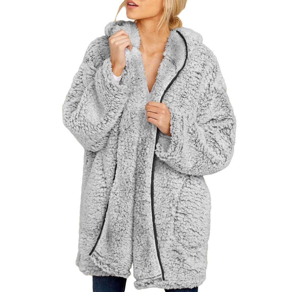 Womens Fuzzy Open Front Hooded Cardigan Knit Faux Fure Warm Winter Jacket Coat Long Sleeve Solid Outwear with Pocket Gray by sheart 9