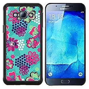 Samsung Galaxy A8 ( A8000 ) - Impreso colorido protector duro espalda Funda piel de Shell (Patr¨®n del trullo floral verde Panal Estrella)