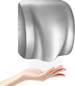 WBHome 2017 Electric Automatic Hand Dryer Commercial High Speed, Instant Heat & Dry for Bathroom Heavy Duty Super Quiet, Silver