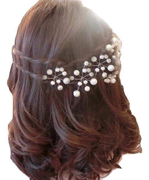 PICCOLI MONELLI Forcine capelli sposa perle ferretti per capelli sposa  fermagli accessori acconciature capelli matrimonio damigella cf 5 pezzi  effetto ... 3fb804abe808