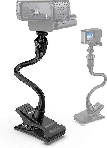 Smatree Adjustable Jaws Flex Clamp Mount 13.4inch Gooseneck Extension Compatible for Logitech Webcam C925e/C922x/C922/C930e/C930/C920/C615/ GoPro Hero 9/8/7/6/5/4/2018/ Arlo Ultra/Pro/Pro 2/Pro 3