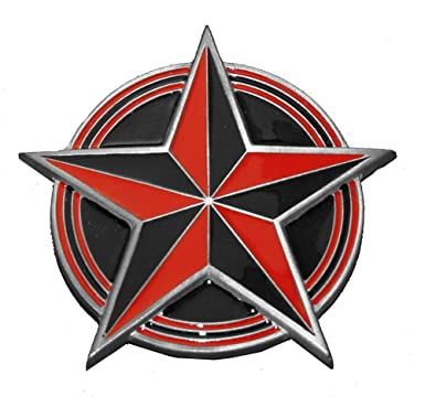 Amazoncom Red And Black Nautical Star Painted Belt Buckle Clothing