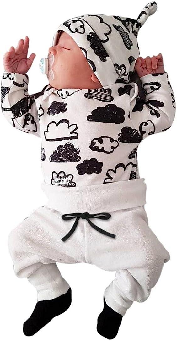 Switchali Ropa Bebe Nino Recien Nacido otoño Impresión de la Nube Blusa Bebe niña Manga Larga Camisetas Bebé Conjuntos Moda Camisa + Pantalones + Sombrero (3 Piezas)