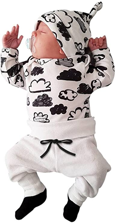 Switchali Ropa Bebe Nino Recien Nacido otoño Impresión de la Nube Blusa Bebe niña Manga Larga Camisetas Bebé Conjuntos Moda Camisa + Pantalones + Sombrero (3 Piezas): Amazon.es: Ropa y accesorios