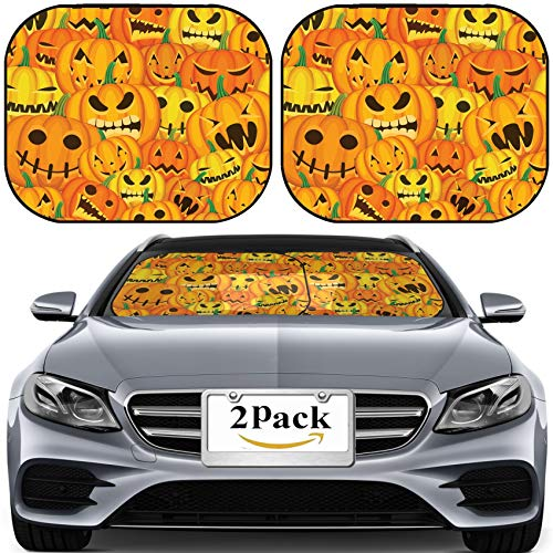 MSD Car Sun Shade for Windshield Universal Fit 2 Pack Sunshade, Block Sun Glare, UV and Heat, Protect Car Interior, Image ID: 22553435 Seamless Halloween Illustration with Pumpkins]()