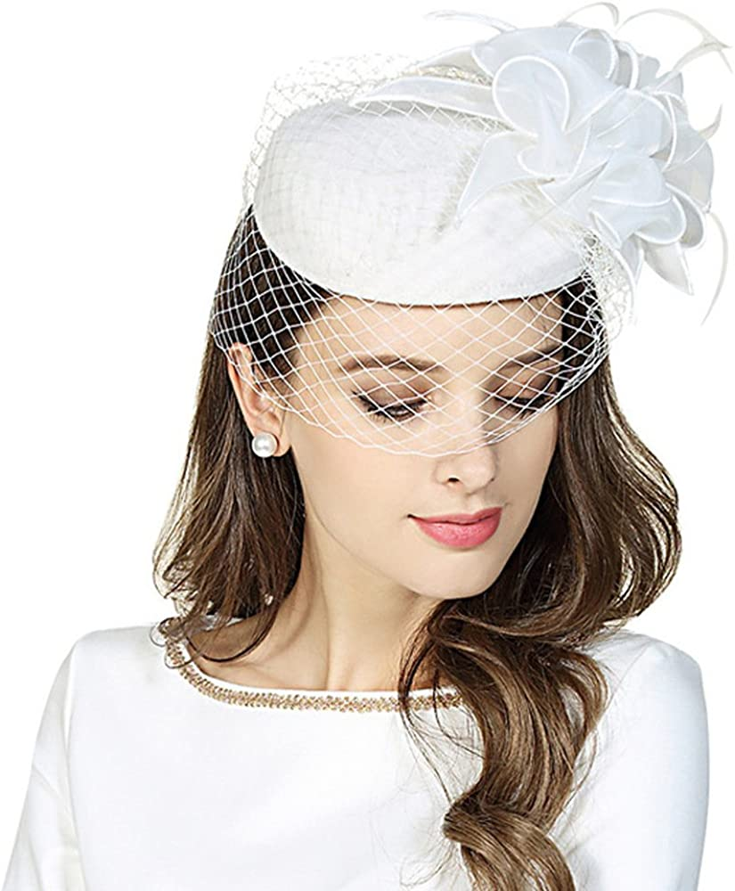 F FADVES Fascinator Pillbox Hats Womens Wool Felt Hat for Church Vintage Wedding Party Cocktail hat with Veil