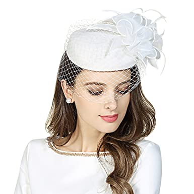 790e15ba5bd98 Fascinator Pillbox Hats Womens Wool Felt Hat for Church Vintage Wedding  Party Cocktail hat with Veil White at Amazon Women s Clothing store