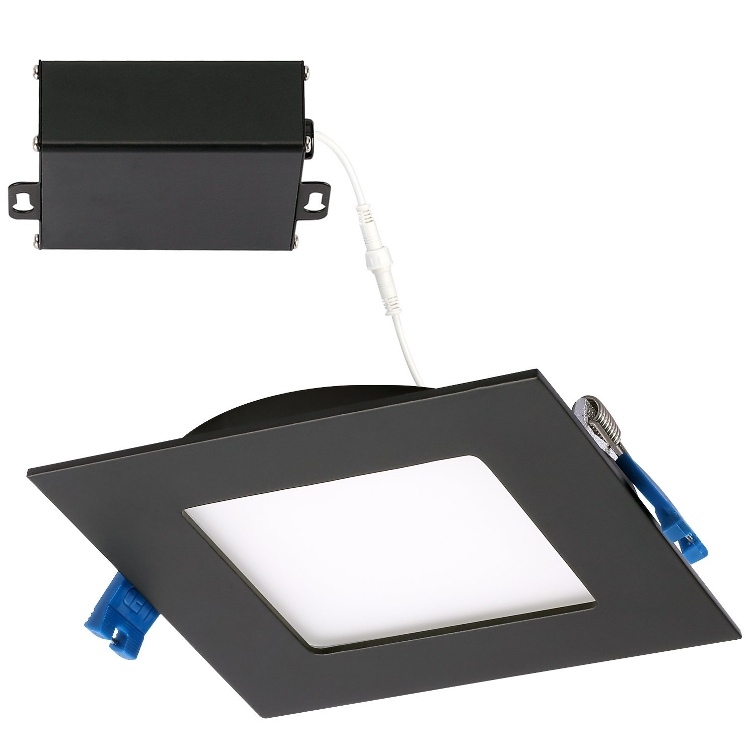 GetInLight Slim Dimmable 4 Inch LED Recessed Lighting, Square Ceiling Panel, Junction Box Included, 4000K(Bright White), 9W, 600lm, Black Finished, cETLus Listed, IN-0308-1-BK-40