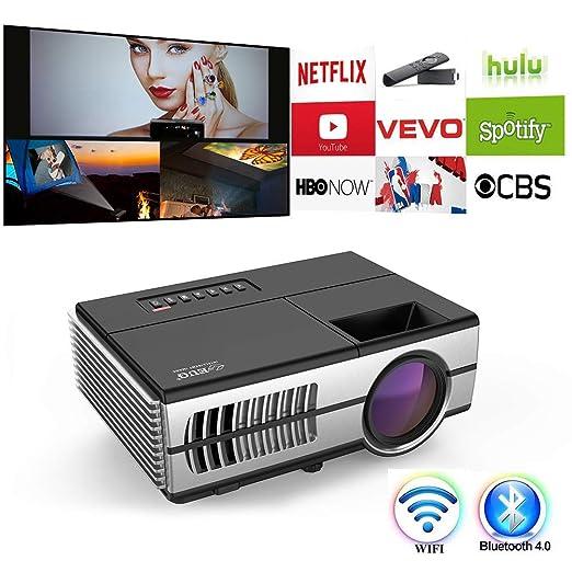 DBGS Mini proyector, WiFi Bluetooth HDMI de vídeo portátil ...