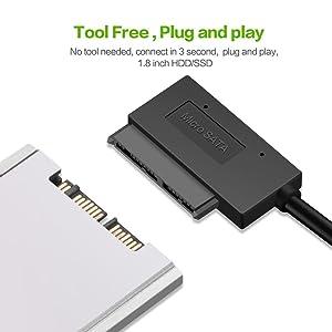 EYOOLD USB 3.0 to Micro SATA Adapter Cable for 1.8 HDD SSD Converter Cord USB3.0 to 16Pin Msata 7+9 Pin