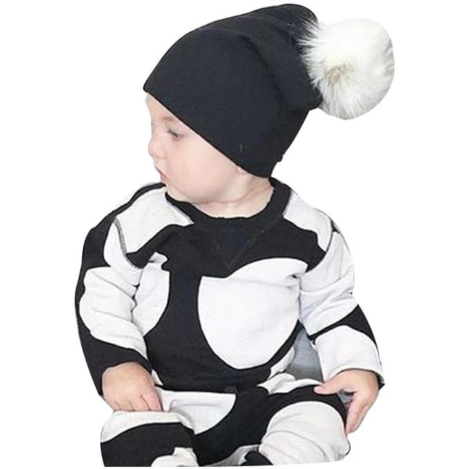 cbec46fbd88 Amazon.com  Amiley Cute Sweet Newborn Infant Baby Winter Warm Solid Hats  Hairball Beanie Cotton Cap Pom Pom (Black)  Clothing