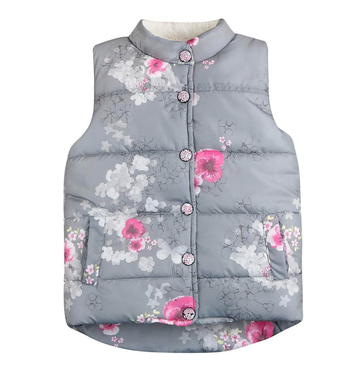 Younger star Little Girls Vests Outerwear Cute Floral Faux Fur Jacket Lightweight Warm Winter Clothes (Grey, 5 T)