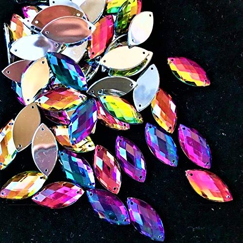 (Cat Eye Shape Rainbow AB Color Sew On Resin Stone Rhinestones Flatback Fancy Stones Sewing for Clothing Dress Decorations 7x15mm 144pcs/Pack)