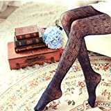 Witch-House Hollow Tights Japanese Lace Pantyhose Fishnet Stockings High Elastic Vintage Pantyhose,Navy