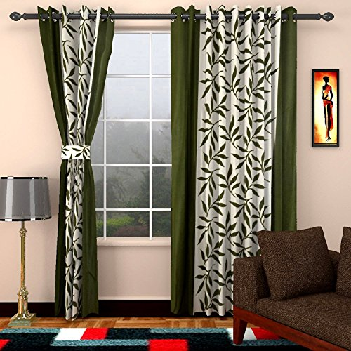 Home Castle  Kolaveri 2 Piece Polyester Floral Door Curtain – 7ft, Green