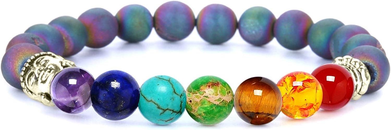Beydodo Pulseras de Piedras Naturales 7 Chacras Pulsera Cuentas Colores con Cabeza de Buda 8 MM