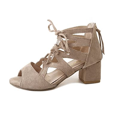 ccb5841a72e Amazon.com  JJLIKER Women Summer Peep Toe Hollow Thick Heel Pumps Mid Heel  Strappy Lace Up Sandals with Zipper Fashion  Clothing