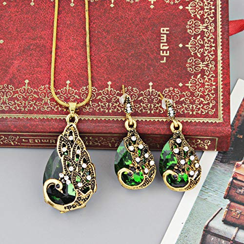 serryNICE Women Elegant Necklaces,Retro Peacock Zircon Necklace Earrings Wedding Party Bridal Jewelry Set-Green]()