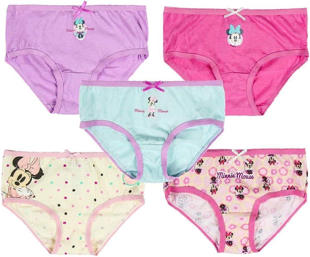 2 a 4 Anni Disney Minnie Mouse Mutandine per Bambina Mutande per Bambina Confezione Multipla da 5 Biancheria Intima per Bambini Mutande in Cotone 100/%
