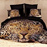 FADFAY Leopard Animal Print 3D Bedding Oil Painting Duvet Cover Queen Size Luxury Comforter Cover Set Cotton Twill Active Print Bed Sheets 4Pcs
