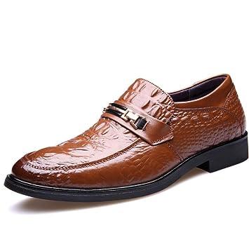 Zxcvb Calzado de Hombre Calzado Casual de Hombre Calzado de Cuero Redondo de Moda británica Calzado