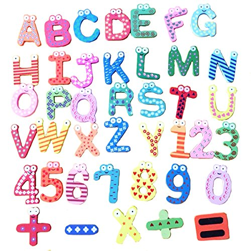 DSB Colorful Numbers Alphabets Wooden Fridge Magnets Kids Children Learning Teaching