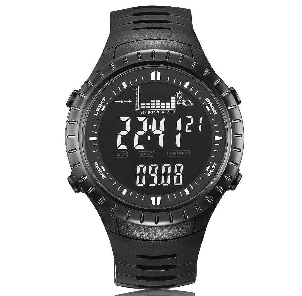 52e347fb0ea Spovan Spv710 5 ATM résistant à l eau pour homme Sports Pêche montre  Baromètre altimètre Thermomètre prévisions météo Chronomètre montre  numérique  ...