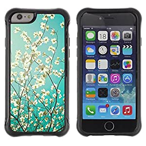 Fuerte Suave TPU GEL Caso Carcasa de Protección Funda para Apple Iphone 6 / Business Style Sun Tree Apple Blossom Blue White