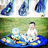 Portable Big Picnic Bag Toy Storage Bag Lego Organizer Kid Play Mattress Foldable Baby Playmat Sandy Beach Rug (Blue)