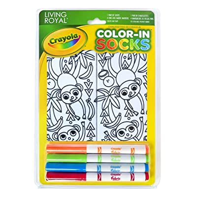 Living Royal Crayola Kid's Color-in Socks - Includes 1 Pair of Socks and 4 Fabric Markers (Monkey Craze): Toys & Games