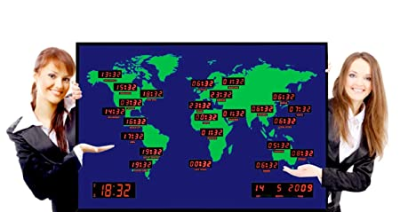 World time zone clock giant digital wall clock map with remote world time zone clock giant digital wall clock map with remote control gumiabroncs Gallery