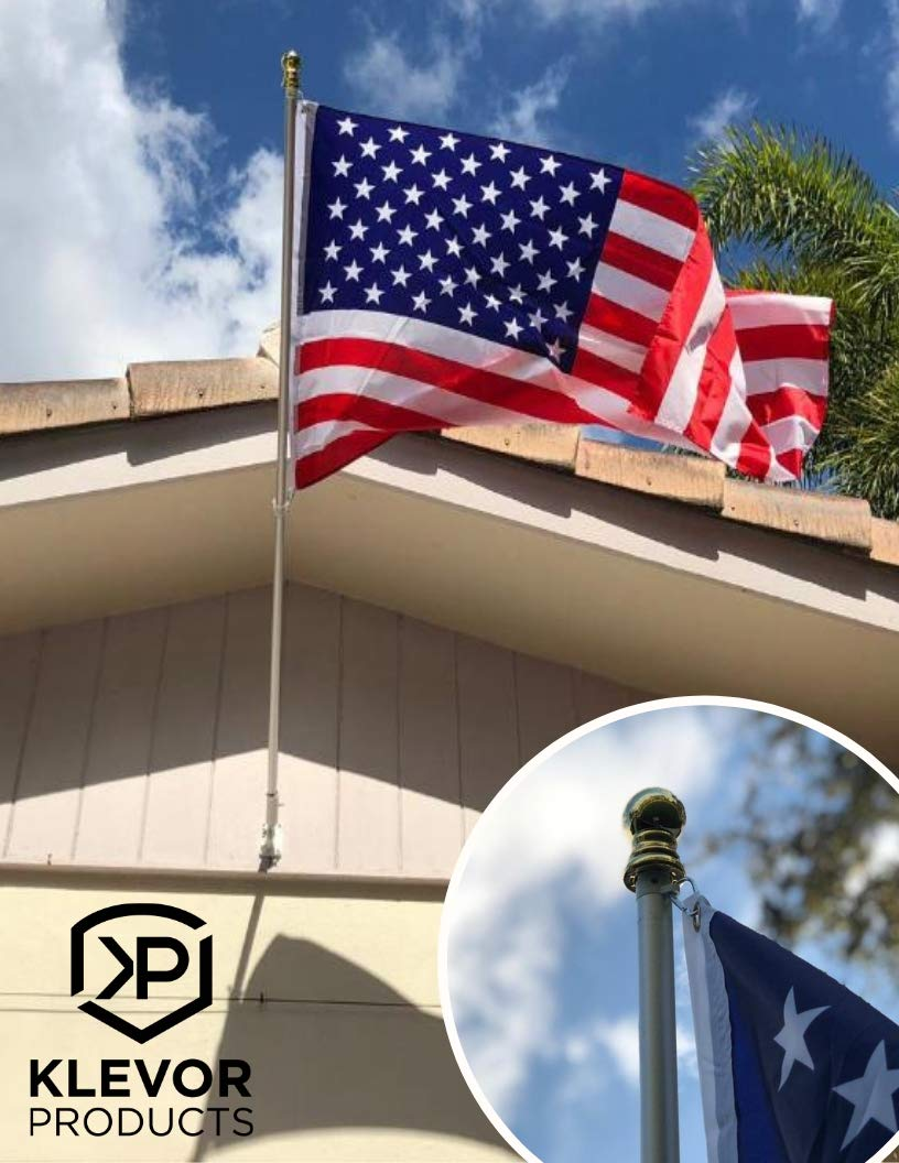 Klevor Products INC American Flag Pole Kit Includes Full Size Flag, Wall Mount and Bracket 6FT Silver Brushed Aluminium Pole for Outdoor or Indoor Use Good for House Commercial Truck or RV