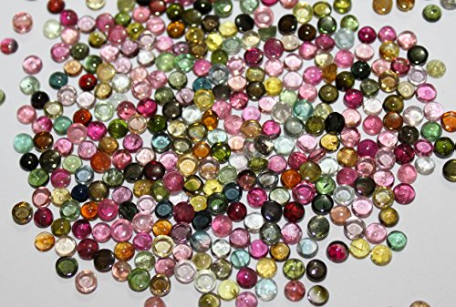Natural tourmaline multi-color cabochon round loose gemstone 3mm AAA Quality