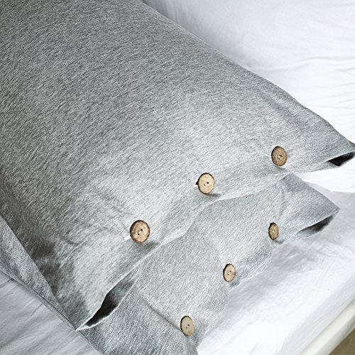 AiMay Duvet Cover Set 3 Piece Bedding Sets 100% Luxury 150g Double Brushed Microfiber With Coconut Button Closure Solid Color Premium Linen Style Ultra Soft More Durable (KING, GRAY) by AiMay (Image #4)